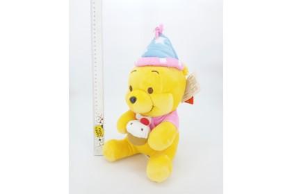 {READY STOCK} Birthday Winnie The Pooh SoftToys/PlushToys/KidsToys 25-35cm 蛋糕维尼熊娃娃玩具公仔25厘米-35厘米 Patung Beruang