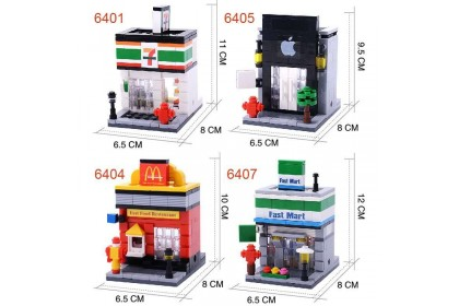 {M'SIA STOCK} Hsanhe Mini Street Building Lego Blocks Famous Shop KidsToys 迷你街景/积木街景拼装小颗粒儿童玩具